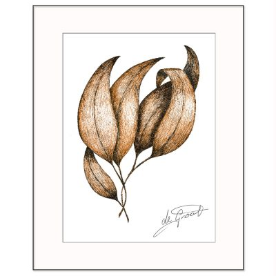 Dancing Leaves 2 is a fine line pen and ink drawing on paper by deGroot-Arts