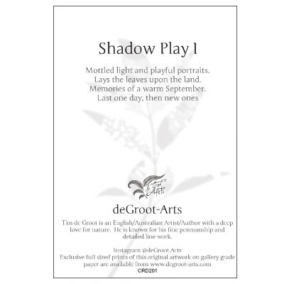 Shadow Play 1 (back of card) - Keepsake Cards by deGroot-Arts, the perfect gift.